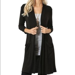 Zenana Open Front Cardigan with Pockets